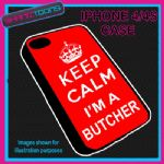 FITS IPHONE 4 / 4S PHONE KEEP CALM IM A  BUTCHER PLASTIC COVER COOL GIFT RED